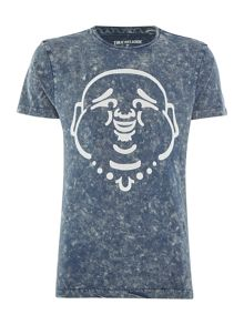 True Religion Acid Wash Buddha Print Crew Neck T Shirt