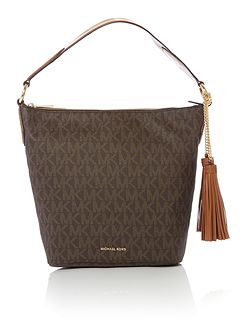 Elana brown shoulder tote bag