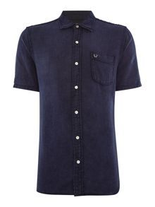 True Religion Slim Fit Woven Pocket Front Short Sleeve Shirt