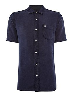 Slim Fit Woven Pocket Front Short Sleeve Shirt