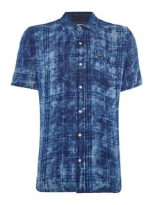 True Religion Slim Fit Washes Check Roll Up Short Sleeve Shirt