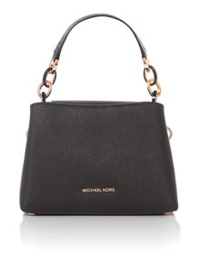 Michael Kors Portia black small shoulder tote bag