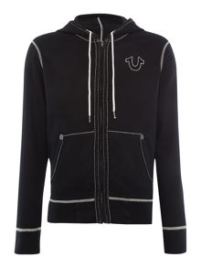 True Religion Contrast Stitch Zip Through Hoodied Sweat