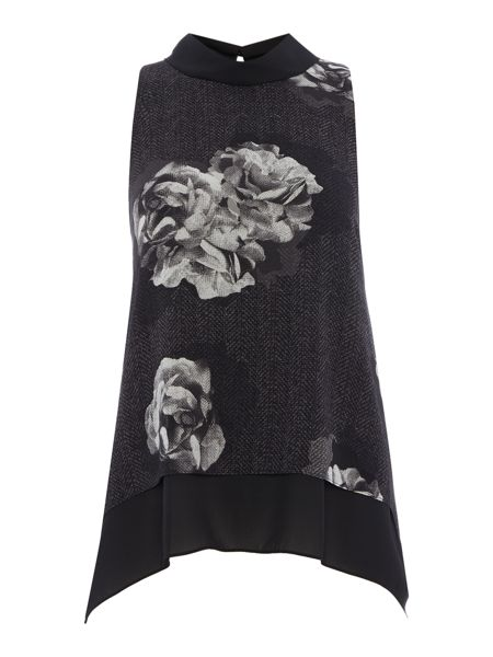 Ellen Tracy Floral printed double layer top