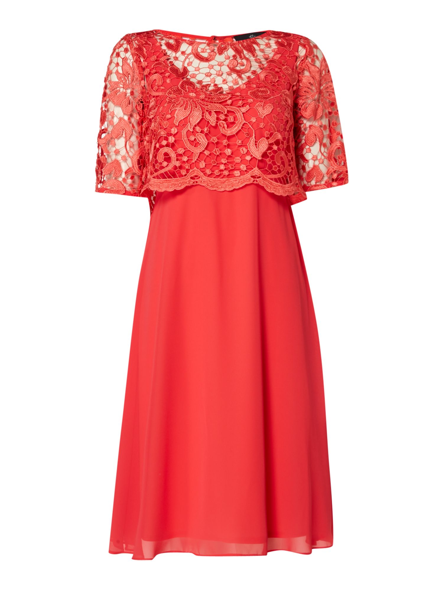 Ariella Lace overlay dress, Coral