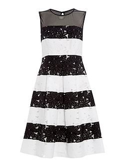 Lace stripe fit and flare dress