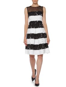 Ariella Lace stripe fit and flare dress