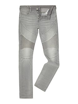 Rocco Slim Fit Moto Faded Slate Wash Jeans
