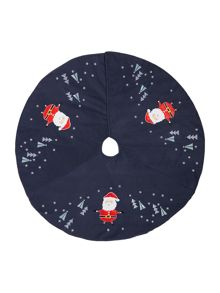 Linea Navy novelty Santa tree skirt