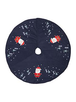 Navy novelty Santa tree skirt