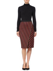 Max Mara Candore striped wrap pencil skirt