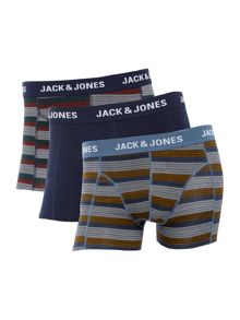 Jack & Jones 3 Pack Stripe and Plain Trunks