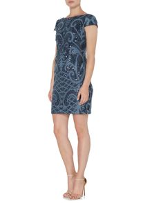 Adrianna Papell Cap sleeve sequin shift dress