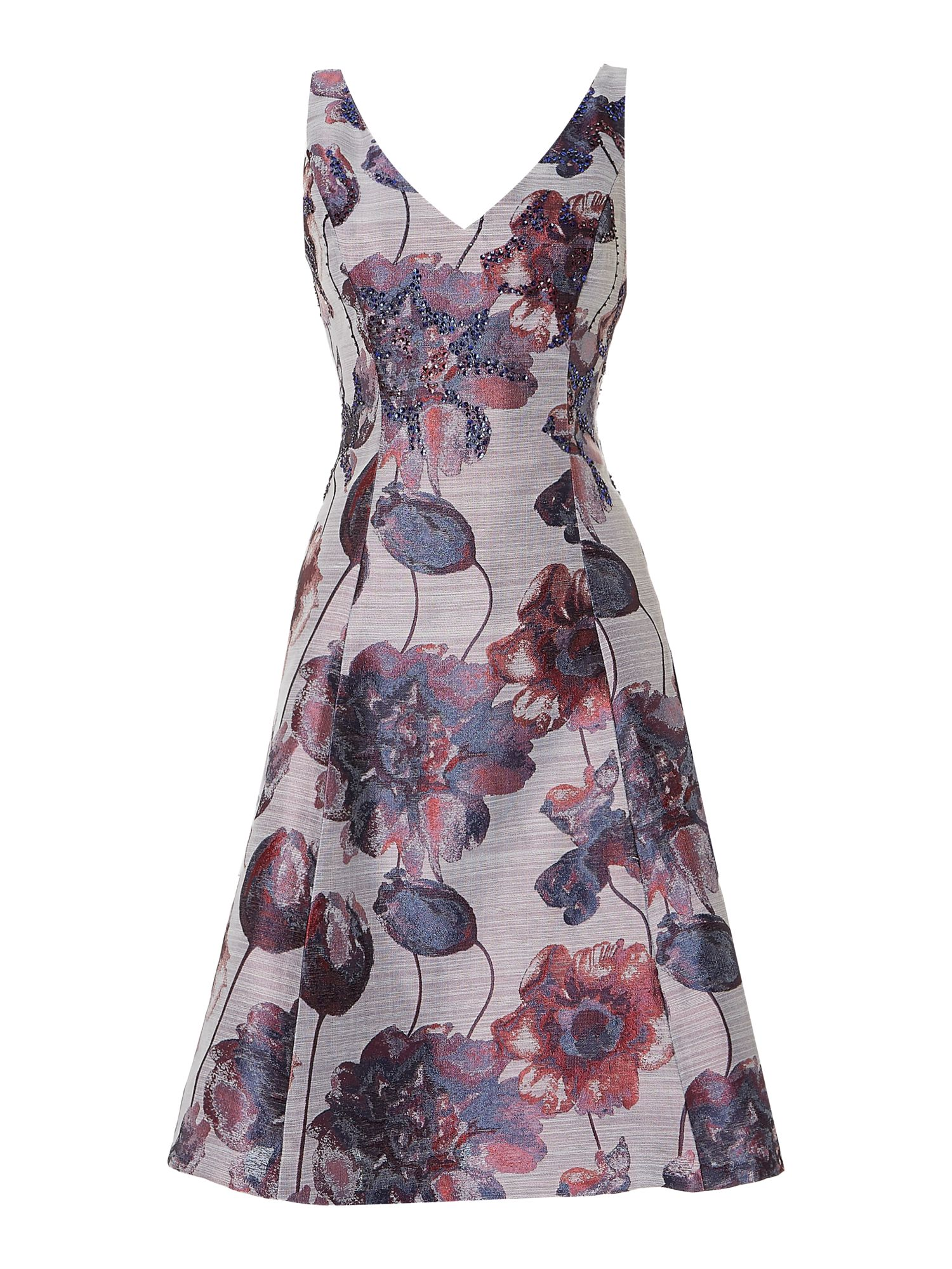 Adrianna Papell Floral jacquard fit and flare dress, Purple