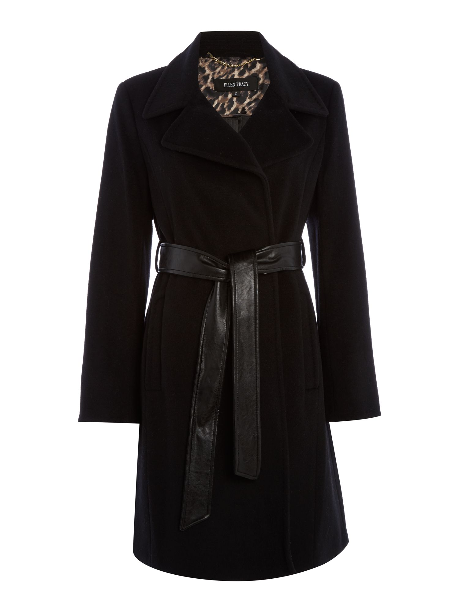 Ellen Tracy Wool Trench With Faux Leather Belt, Black
