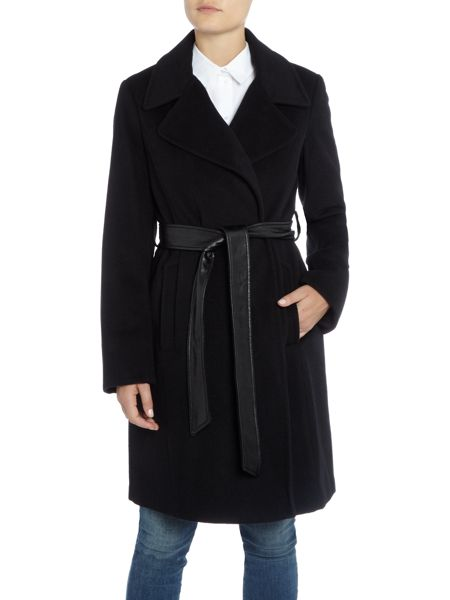 Ellen Tracy Wool trench with faux leather belt