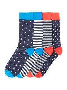 Jack & Jones 4 Pack Spot and Striped Socks