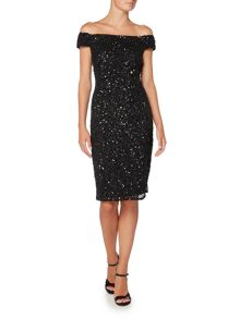 Adrianna Papell Off The Shoulder Sequin Shift Dress