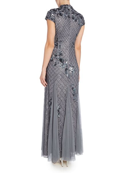 Adrianna Papell Mandarin collar beaded gown