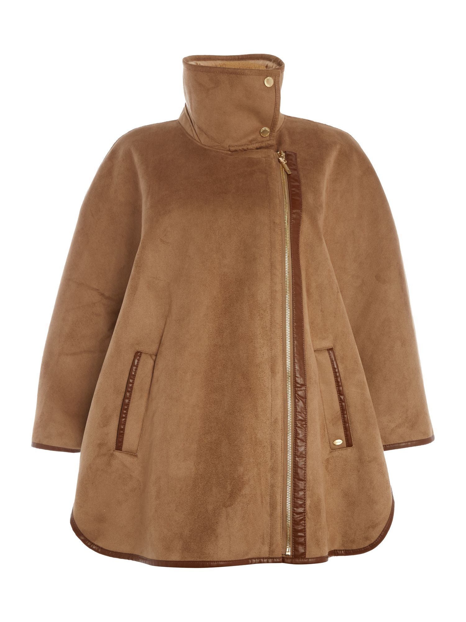 Ellen Tracy Faux shearling cape, Camel