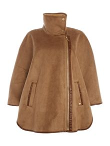 Ellen Tracy Faux shearling cape