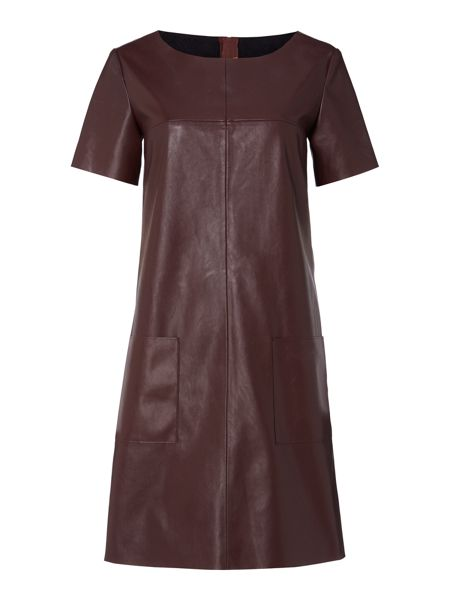 Hugo Boss Apelilly short sleeve leather look dress