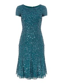 Adrianna Papell Cap Sleeve Beaded Kick Hem Dress