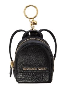 Michael Kors Rhea black backpack charm keyring