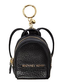 Rhea black backpack charm keyring