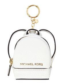 Michael Kors Rhea white backpack charm keyring