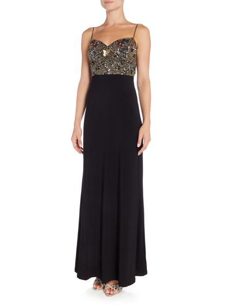 Adrianna Papell Strappy Embellished Top Jersey Gown