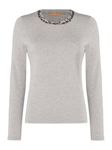 Hugo Boss Long sleeve embellished neck top