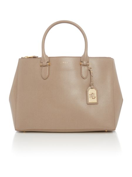Lauren Ralph Lauren Neutral Porchini Large Newbury Tote