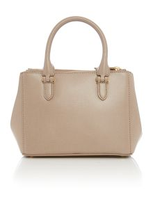 Lauren Ralph Lauren Neutral Porchini Mini Double Zipper Tote