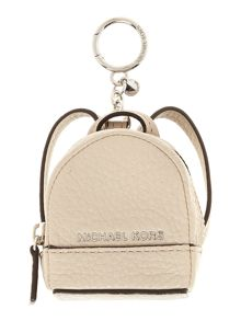 Michael Kors Rhea neutral backpack charm keyring