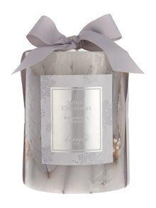 Linea White christmas botanical candle