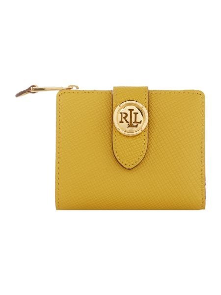 Lauren Ralph Lauren Charleston yellow medium tab zip-around purse