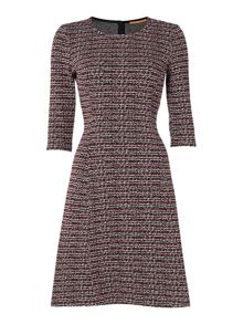 Hugo Boss Textured 3/4 sleeve dress