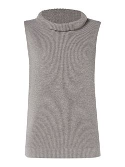 Sleeveless roll neck knit