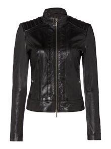 Hugo Boss Collarless leather jacket