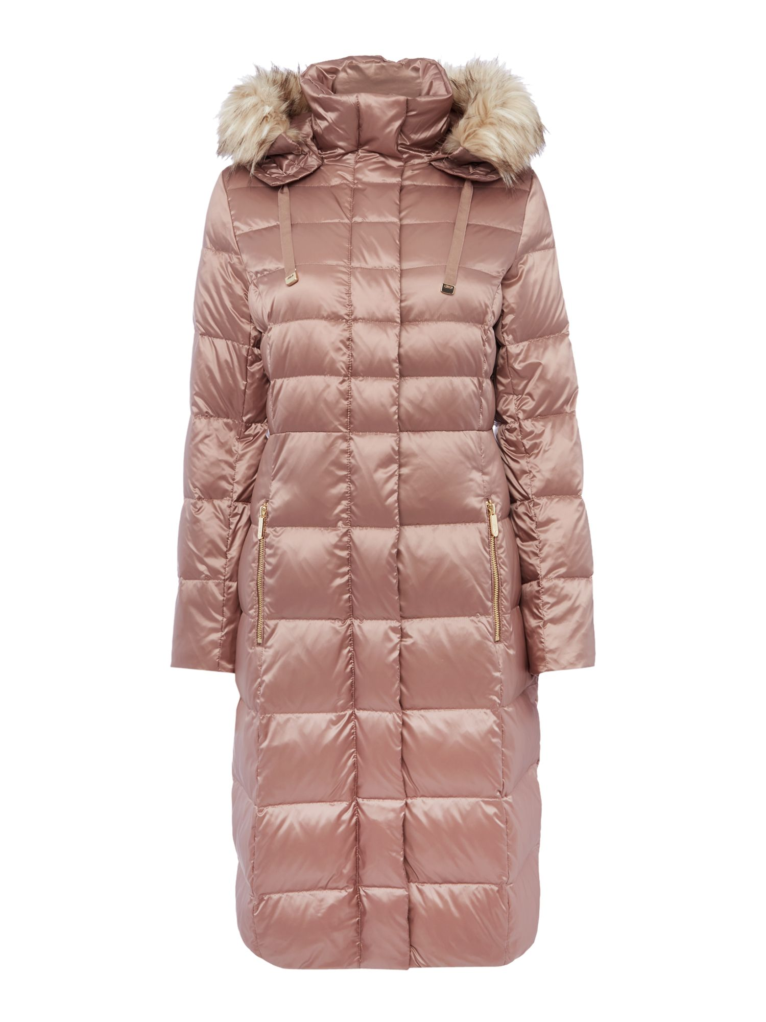 Eliza J Padded Down Coat with Faux Fur Hood, Pink