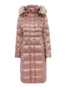 Eliza J Padded Down Coat with Faux Fur Hood