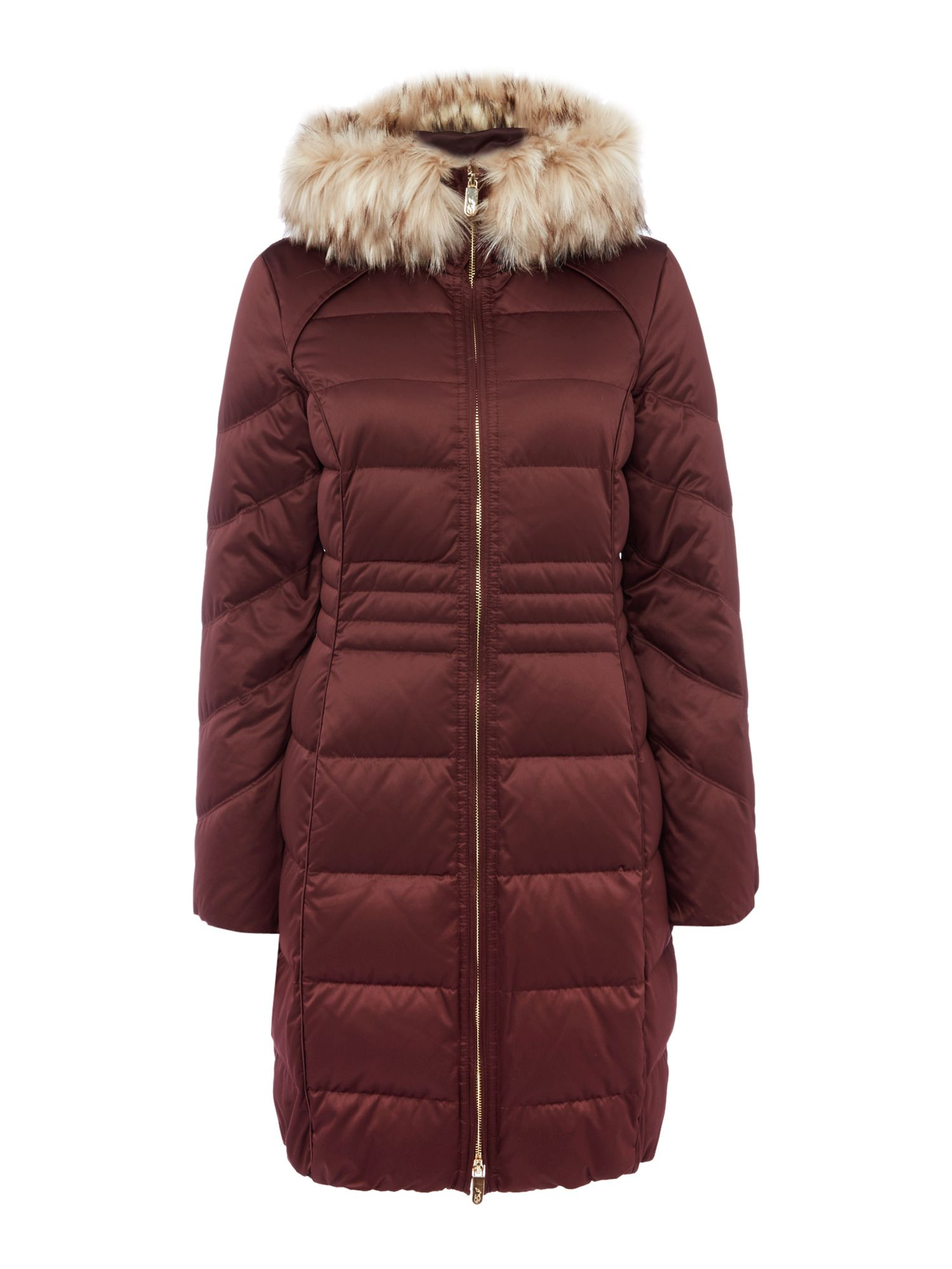 Eliza J Satin Down Coat with Faux Fur Hood, Dark Red