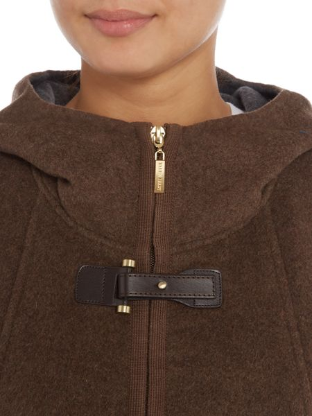 Ellen Tracy Double face zip front hooded coat
