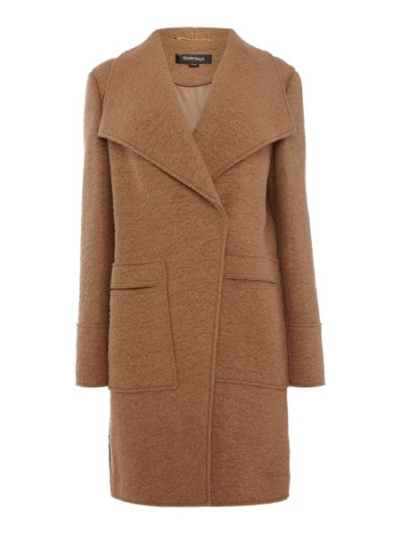 Ellen Tracy Boiled wool cascade belted coat