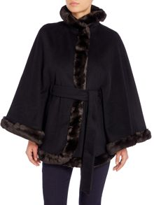 Ellen Tracy Wool cape with faux fur detail