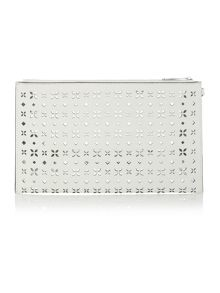 Michael Kors Jet set travel white xl zip clutch bag