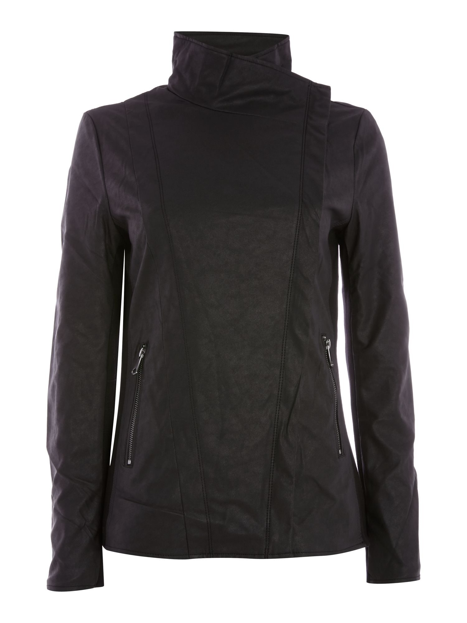 Andrew Marc PU Biker Jacket with Jersey Panels, Black