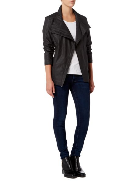 Andrew Marc PU Biker Jacket with Jersey Panels