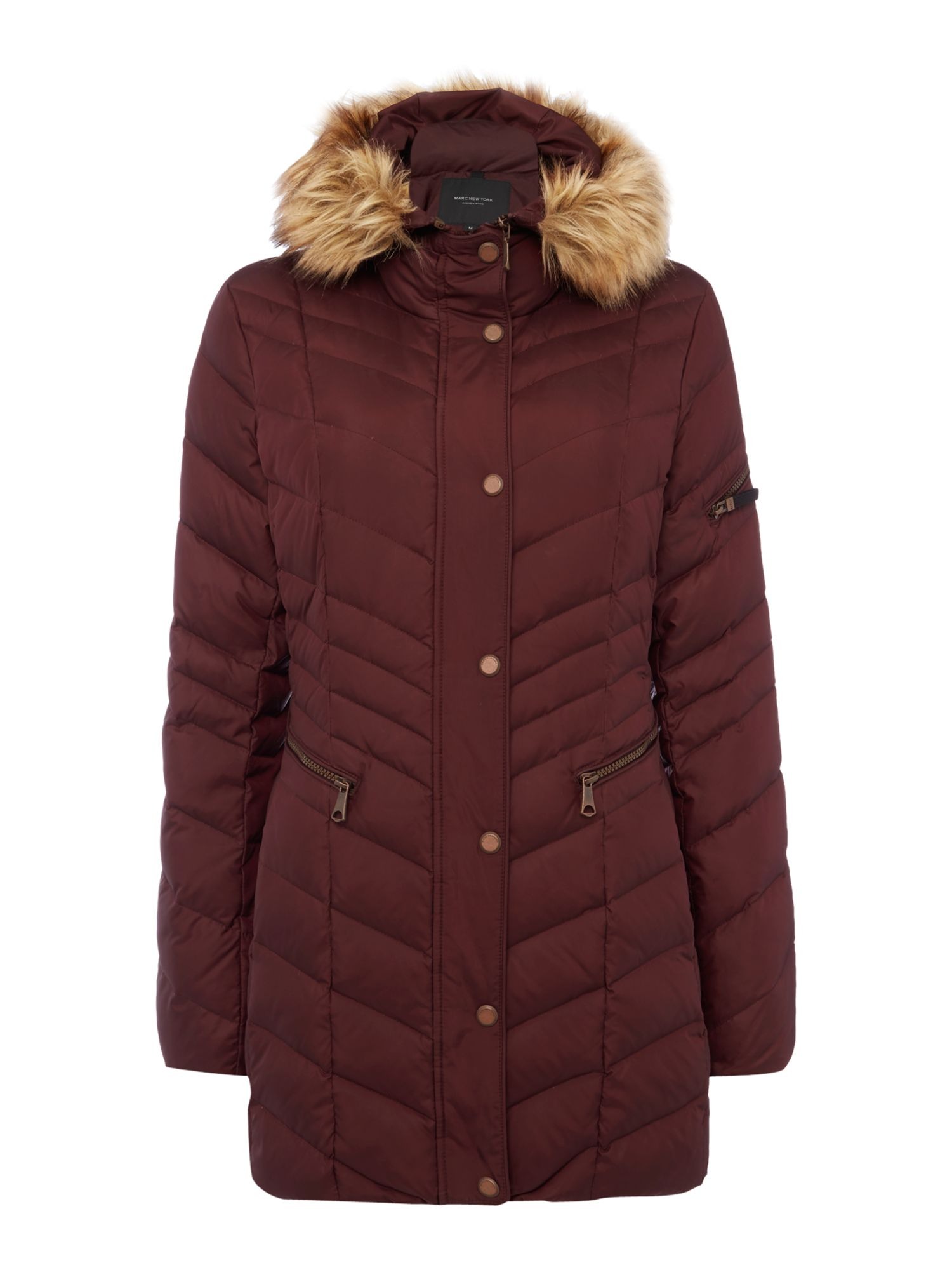 Andrew Marc Padded Coat with Faux Fur Hood Dark Red